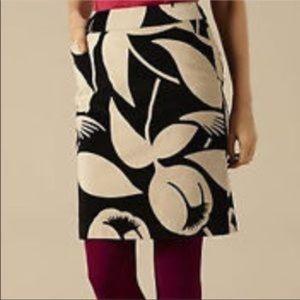Boden Black /Tan Velvet Floral Skirt